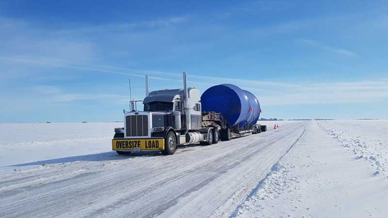 Bushell Transport truck carrying oversized load